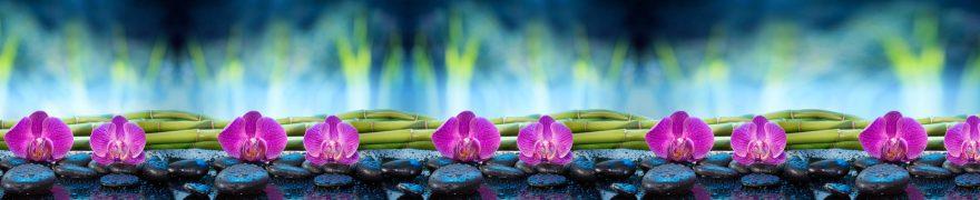 Изображение для стеклянного кухонного фартука, скинали: цветы, бамбук, орхидеи, rastcve091