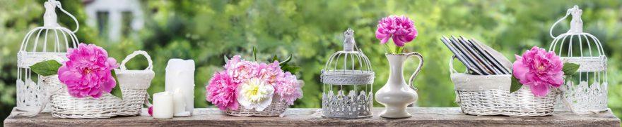 Изображение для стеклянного кухонного фартука, скинали: цветы, корзина, пионы, rastcve095