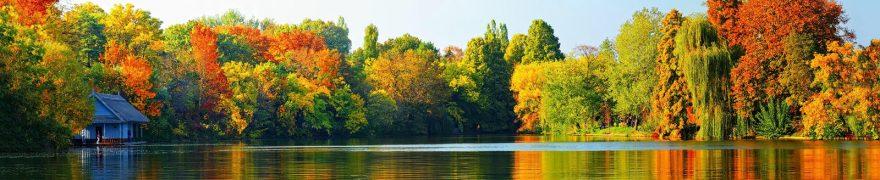 Изображение для стеклянного кухонного фартука, скинали: лес, озеро, осень, rekozer005
