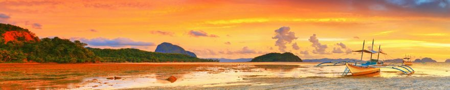 Изображение для стеклянного кухонного фартука, скинали: закат, море, холм, пляж, лодки, skin100
