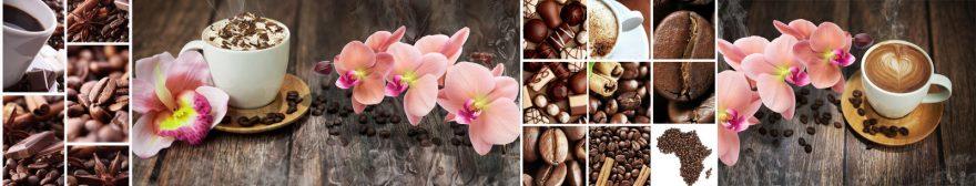 Изображение для стеклянного кухонного фартука, скинали: цветы, орхидеи, коллаж, кофе, кружка, skin104