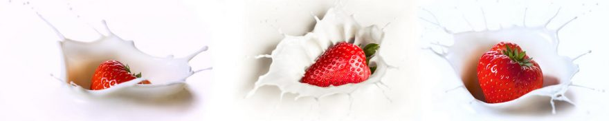 Изображение для стеклянного кухонного фартука, скинали: ягоды, клубника, молоко, skin108