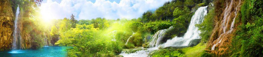Изображение для стеклянного кухонного фартука, скинали: горы, водопад, skin134