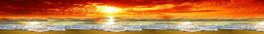 Изображение для стеклянного кухонного фартука, скинали: закат, море, пляж, skin139