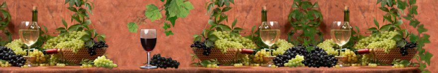 Изображение для стеклянного кухонного фартука, скинали: вино, виноград, бутылка, бокал, skin140