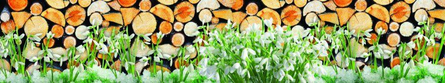 Изображение для стеклянного кухонного фартука, скинали: цветы, дрова, skin147