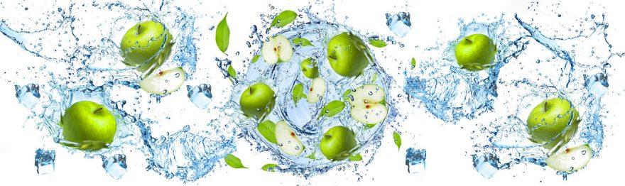 Изображение для стеклянного кухонного фартука, скинали: вода, фрукты, лед, яблоки, skin159