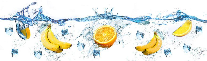 Изображение для стеклянного кухонного фартука, скинали: вода, фрукты, лед, skin160