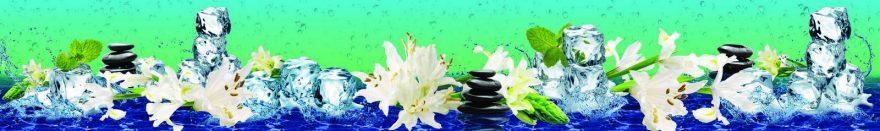 Изображение для стеклянного кухонного фартука, скинали: цветы, камни, лед, лилии, skin161