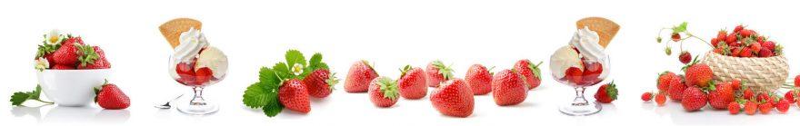 Изображение для стеклянного кухонного фартука, скинали: посуда, ягоды, клубника, skin168