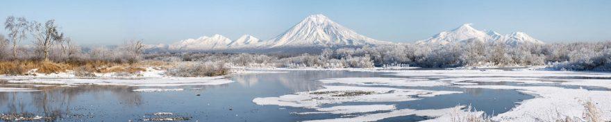 Изображение для стеклянного кухонного фартука, скинали: природа, зима, снег, лес, горы, река, skin178