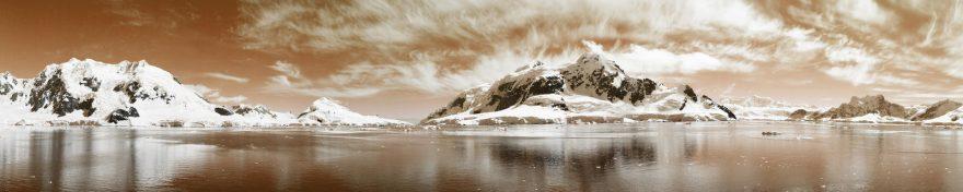 Изображение для стеклянного кухонного фартука, скинали: небо, снег, горы, река, skin181