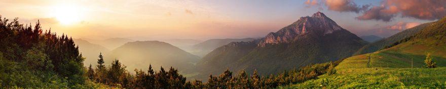 Изображение для стеклянного кухонного фартука, скинали: восход, небо, лес, горы, skin182