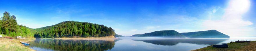 Изображение для стеклянного кухонного фартука, скинали: природа, небо, холм, лес, озеро, skin183