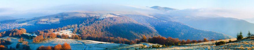 Изображение для стеклянного кухонного фартука, скинали: природа, лес, горы, осень, skin189
