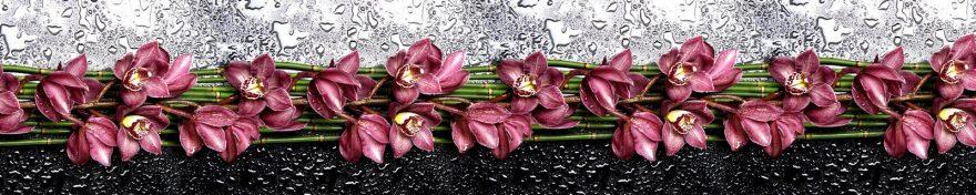 Изображение для стеклянного кухонного фартука, скинали: цветы, бамбук, орхидеи, skin209