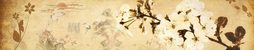 Изображение для стеклянного кухонного фартука, скинали: цветы, ветки, skin213