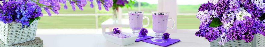 Изображение для стеклянного кухонного фартука, скинали: цветы, посуда, корзина, стаканы, сирень, skin230