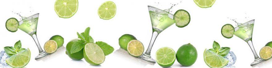 Изображение для стеклянного кухонного фартука, скинали: фрукты, напитки, лайм, бокал, мята, skin238