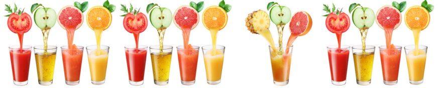 Изображение для стеклянного кухонного фартука, скинали: фрукты, напитки, стаканы, skin258