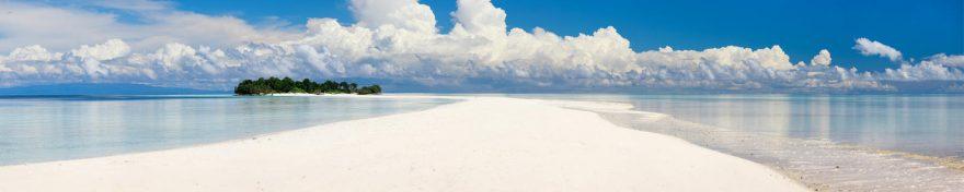 Изображение для стеклянного кухонного фартука, скинали: небо, море, облака, остров, пляж, skin260