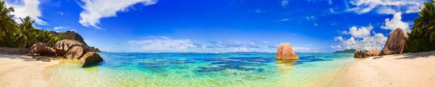 Изображение для стеклянного кухонного фартука, скинали: небо, море, пальмы, пляж, skin261