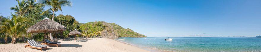 Изображение для стеклянного кухонного фартука, скинали: небо, море, пальмы, пляж, skin264
