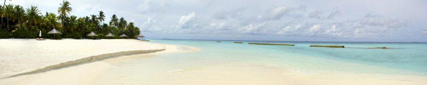 Изображение для стеклянного кухонного фартука, скинали: небо, море, пальмы, пляж, skin268