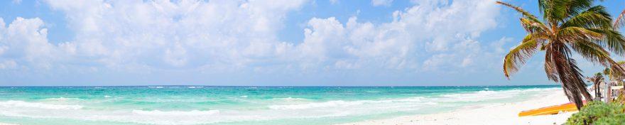Изображение для стеклянного кухонного фартука, скинали: небо, море, облака, пальмы, skin269