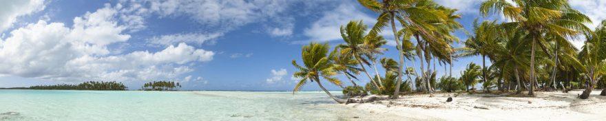Изображение для стеклянного кухонного фартука, скинали: небо, море, облака, пальмы, skin272