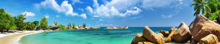 Изображение для стеклянного кухонного фартука, скинали: небо, камни, море, пальмы, пляж, skin274