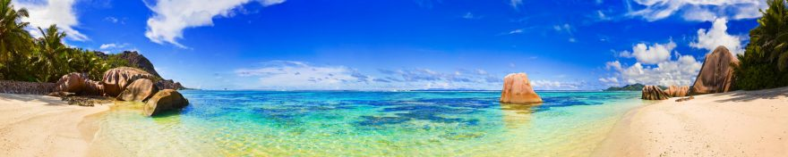 Изображение для стеклянного кухонного фартука, скинали: небо, море, пальмы, пляж, skin277