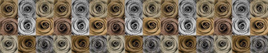 Изображение для стеклянного кухонного фартука, скинали: цветы, розы, коллаж, skin293