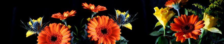 Изображение для стеклянного кухонного фартука, скинали: цветы, герберы, skin306