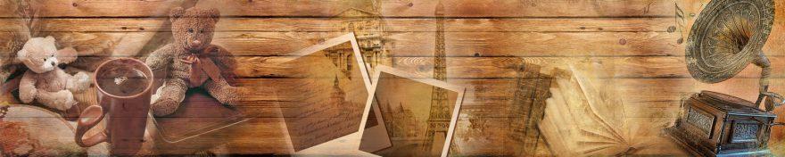 Изображение для стеклянного кухонного фартука, скинали: коллаж, кружка, башня, книга, граммофон, skin310