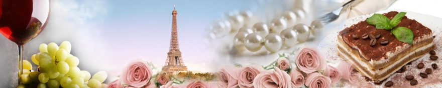 Изображение для стеклянного кухонного фартука, скинали: цветы, розы, коллаж, жемчуг, виноград, бокал, башня, сладости, skin317