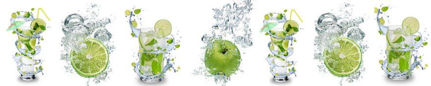 Изображение для стеклянного кухонного фартука, скинали: вода, фрукты, стаканы, skin320