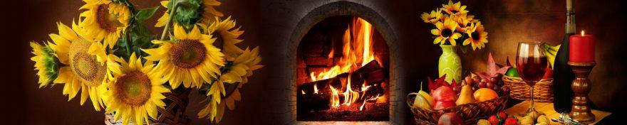 Изображение для стеклянного кухонного фартука, скинали: цветы, подсолнухи, фрукты, бокал, огонь, skin330