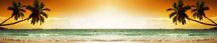 Изображение для стеклянного кухонного фартука, скинали: закат, море, пальмы, пляж, skin332