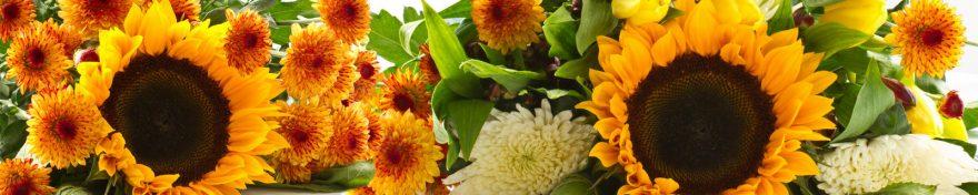 Изображение для стеклянного кухонного фартука, скинали: цветы, подсолнухи, skin334