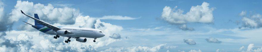 Изображение для стеклянного кухонного фартука, скинали: небо, облака, самолет, skin341