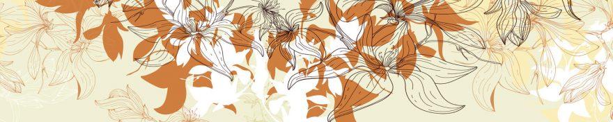 Изображение для стеклянного кухонного фартука, скинали: цветы, орнамент, skin406