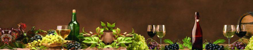 Изображение для стеклянного кухонного фартука, скинали: вино, виноград, бутылка, бокал, skin407