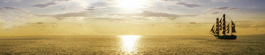 Изображение для стеклянного кухонного фартука, скинали: небо, море, корабль, skin428