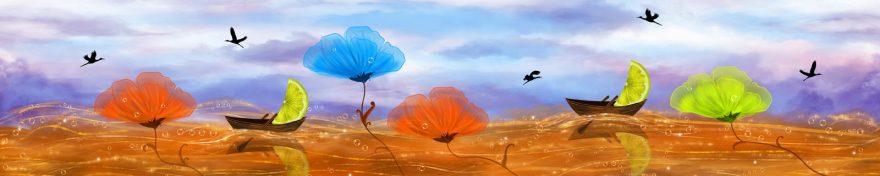 Изображение для стеклянного кухонного фартука, скинали: цветы, птицы, skin450
