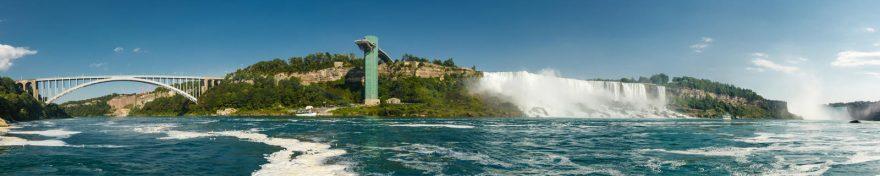 Изображение для стеклянного кухонного фартука, скинали: водопад, река, мост, skin460
