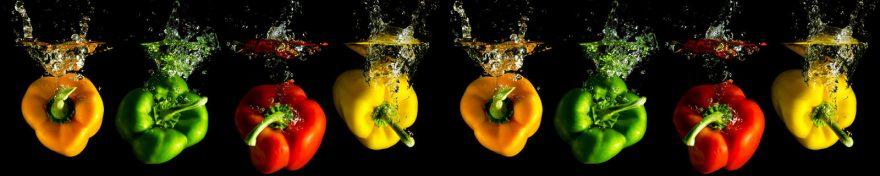 Изображение для стеклянного кухонного фартука, скинали: вода, овощи, перец, skin470