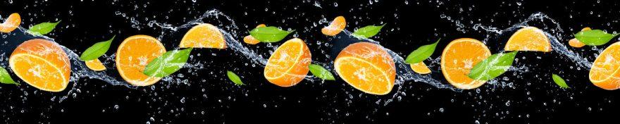 Изображение для стеклянного кухонного фартука, скинали: вода, фрукты, апельсины, skin473