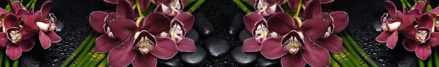 Изображение для стеклянного кухонного фартука, скинали: цветы, бамбук, орхидеи, камни, skin480