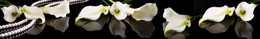 Изображение для стеклянного кухонного фартука, скинали: цветы, жемчуг, каллы, skin481